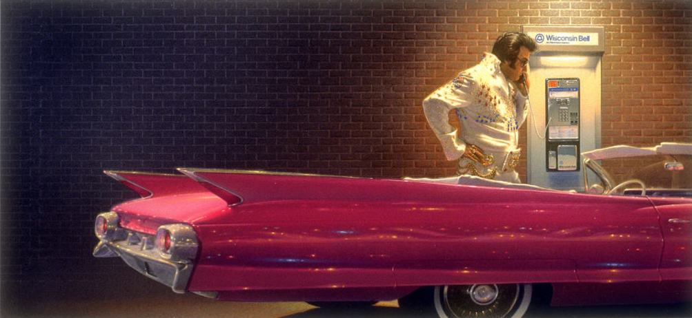 Illustration of Elvis at night by pink cadillac