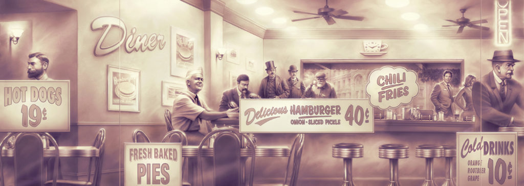 Sepia History of Hamburger mural. Retro artwork.