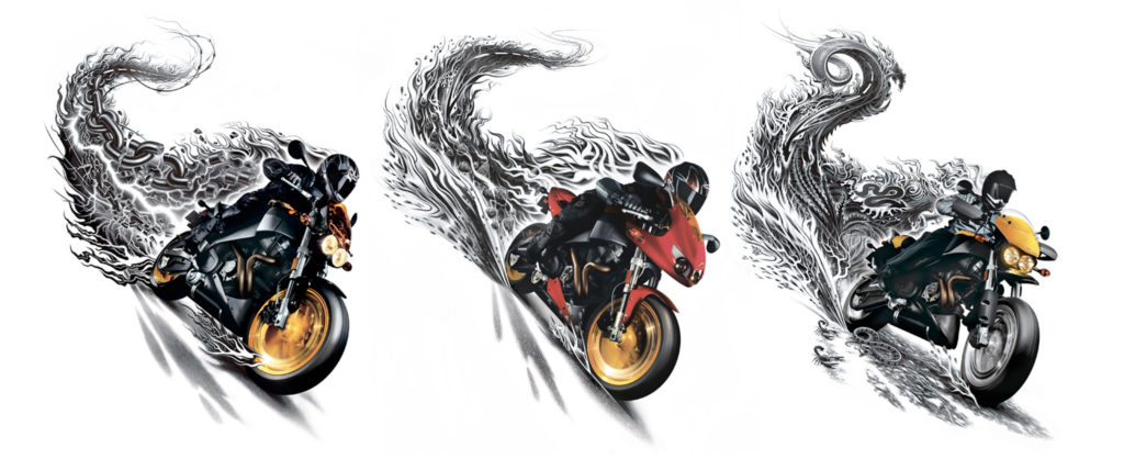 Illustrations of Buell motorcycles on conceptual journeys artwork.