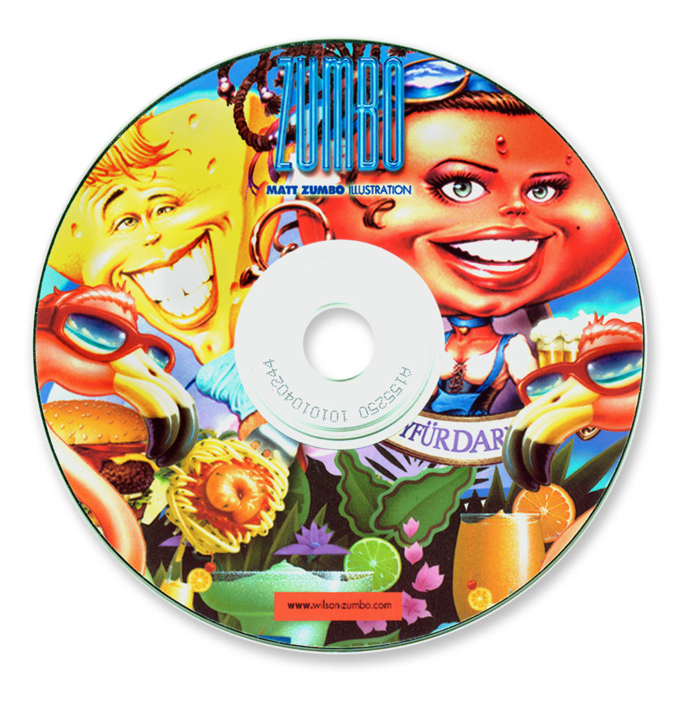 Illustration. Humorous Chancery artwork CD label