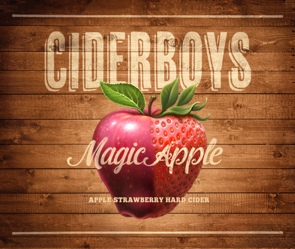 Hard cider packaging artwork. apple strawberry illustration.