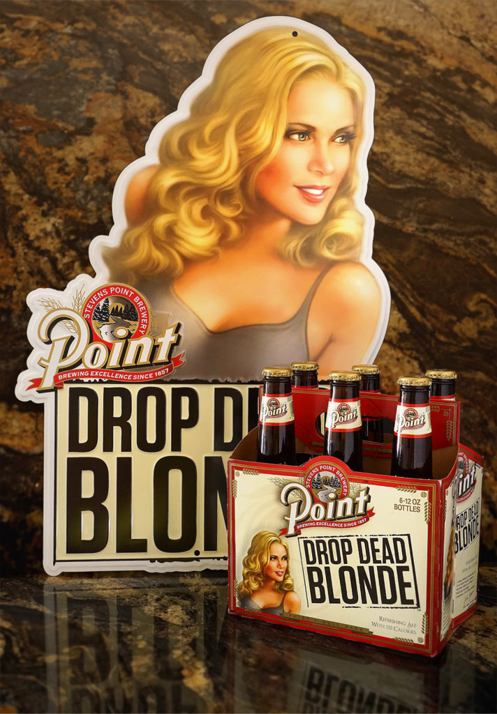 Drop dead blonde beer packaging artwork.