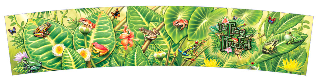 Jungle art with frogs packaging art. Frog bucket packaging illustration.