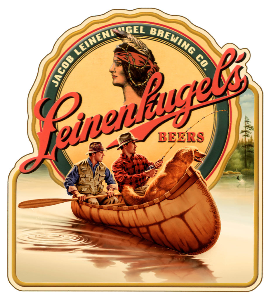Leinenkugels metal collectible sign. Fisherman and dog artwork.
