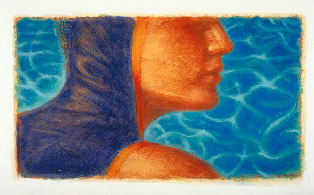 Swimmer and pool water artwork.