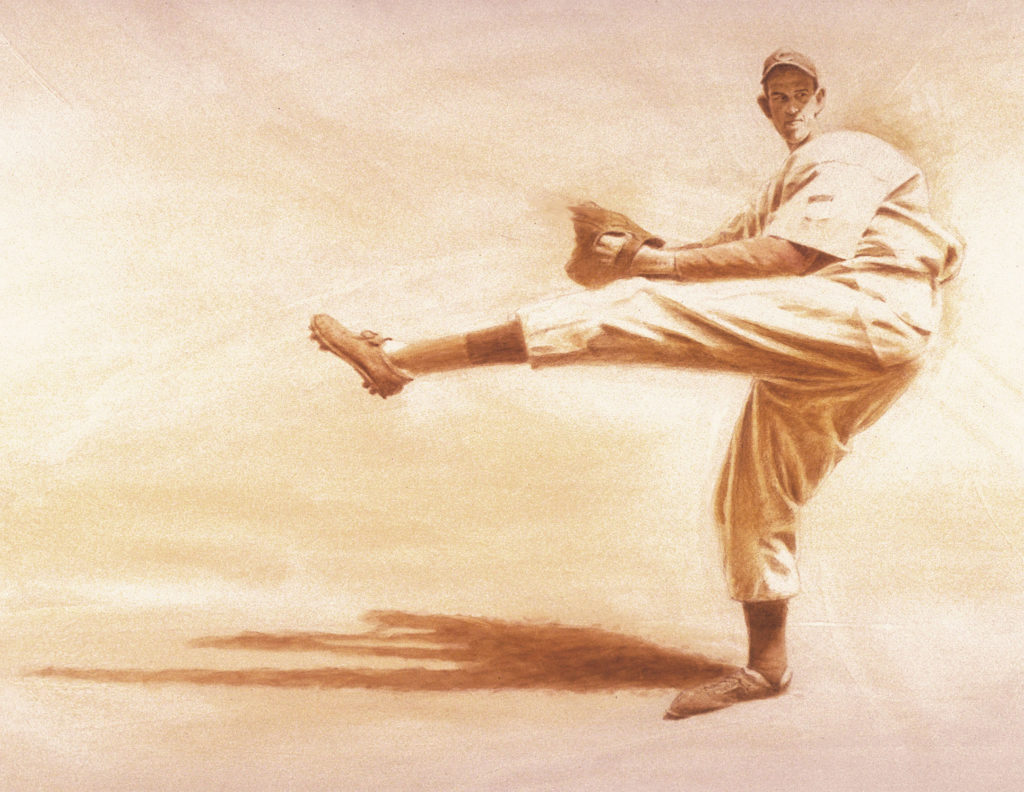 retro baseball pitcher. Sepia artwork. Ewell Blackwell illustration.