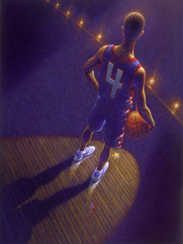 Generic basketball star player in spotlight illustration.